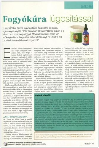 Elixír Magazin novemberi pH csoda cikk 47. oldal